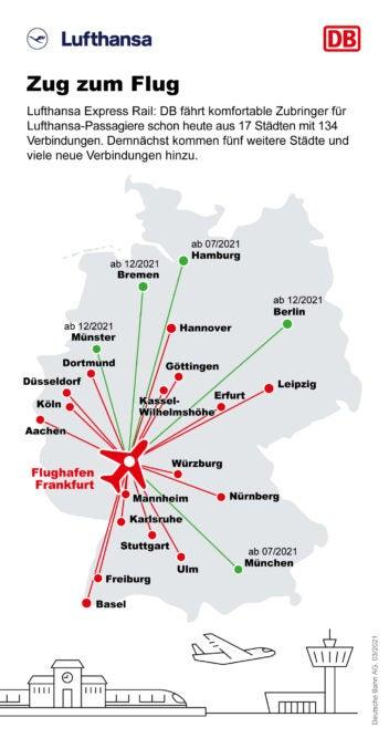 Eine Deutschland-Karte mit den ICE-Verbindungen zum Flughafen Frankfurt
