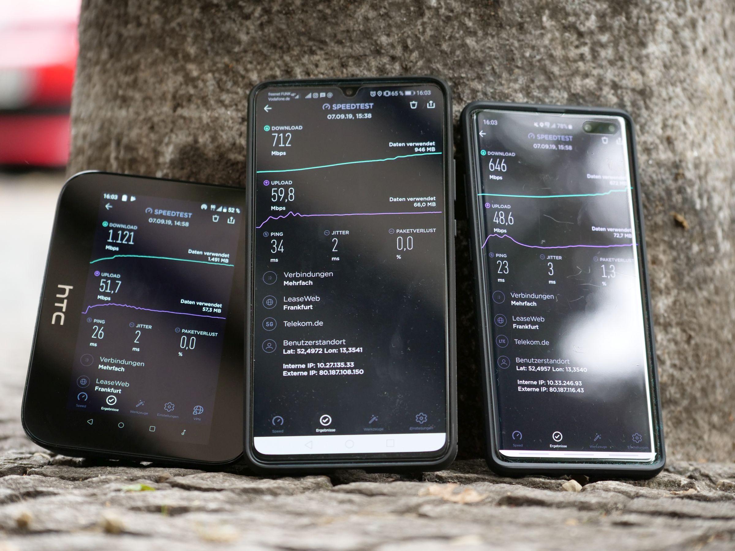 5G-Speed im Vergleich
