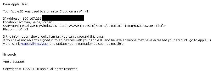 Apple Phishing Emails Beispiel