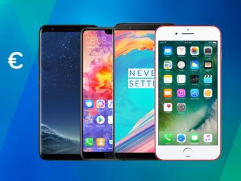 Die besten Handys unter 500 Euro wie zum Beispiel das iPhone 7, das Samsung Galaxy S8 und Huawei P20