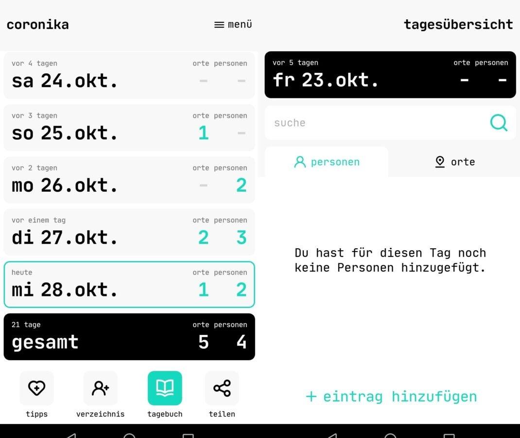 Übersicht der Coronika App