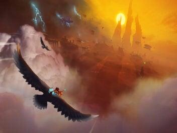 Falke fliegt im Himmel in Richtung Sonne