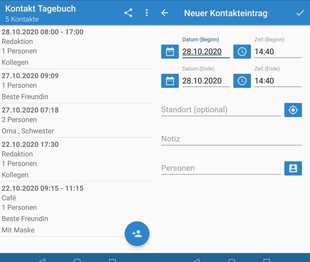 Übersicht der Kontakt Tagebuch App von Dieter Thiess