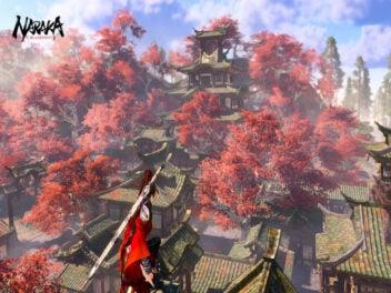 """""""Naraka: Bladepoint"""" Frau sieht auf Landschaft herunter"""