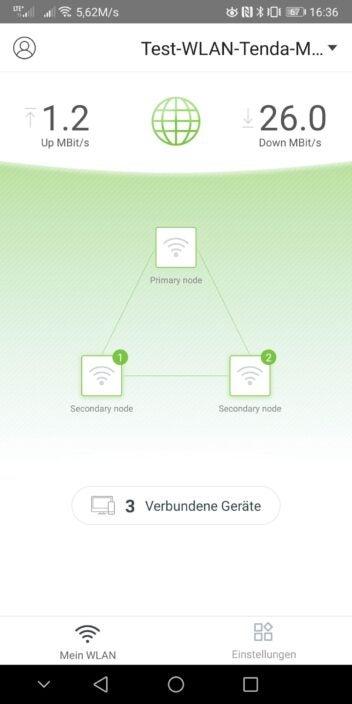 Screenshot aus der Tenda-WiFi-App