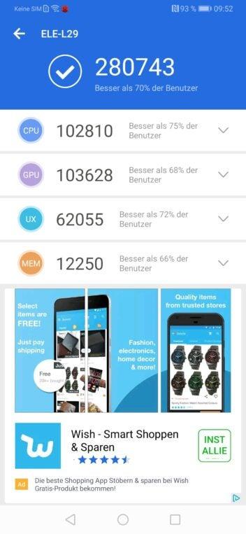 Benchmark Test Ergebnis Huawei P30