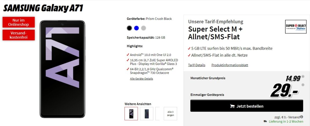 Galaxy A71 Tarif-Angebot