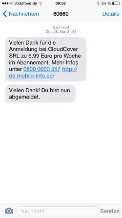 Abo-Bestätigung per SMS bei CloudCover Mobile