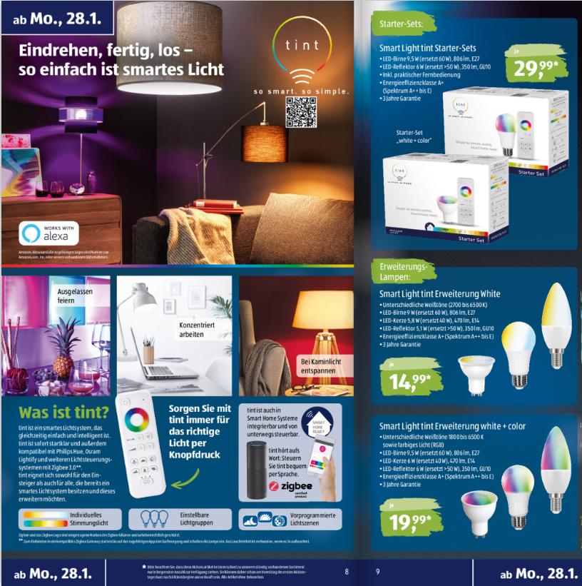 Aldi-Prospekt mit Smart-Home-Lampen-Angebot
