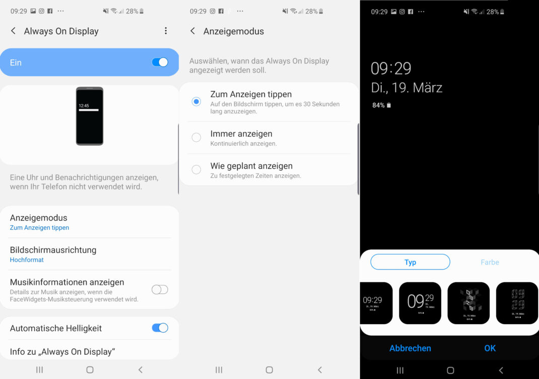 Screenshots des Always-On-Displays beim Samsung Galaxy S10