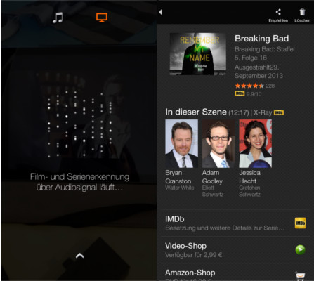 Amazon Fire Phone Firefly Film- und Serienerkennung