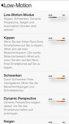 Amazon Fire Phone Low Motion Einstellungen