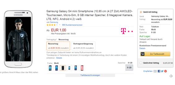 Bei Amazon können Smartphones ab sofort auch mit einem Vertrag kombinirt werden.