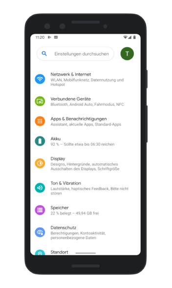 Die neu gestalteten Einstellungen in Android 12