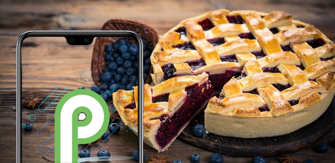 Android Pie mit Kuchen im Hintergrund