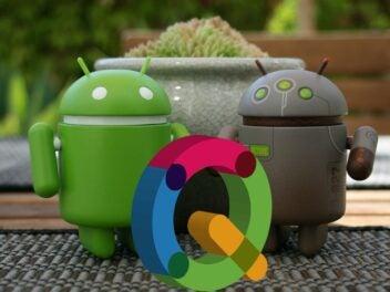 Zwei Android-Männchen mit dem Buchstaben Q.