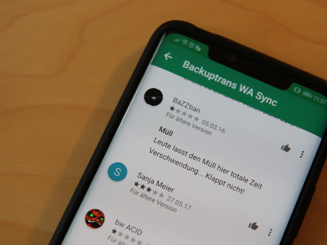 Google Play Bewertungen zu Android WhatsApp to iOS Transfer