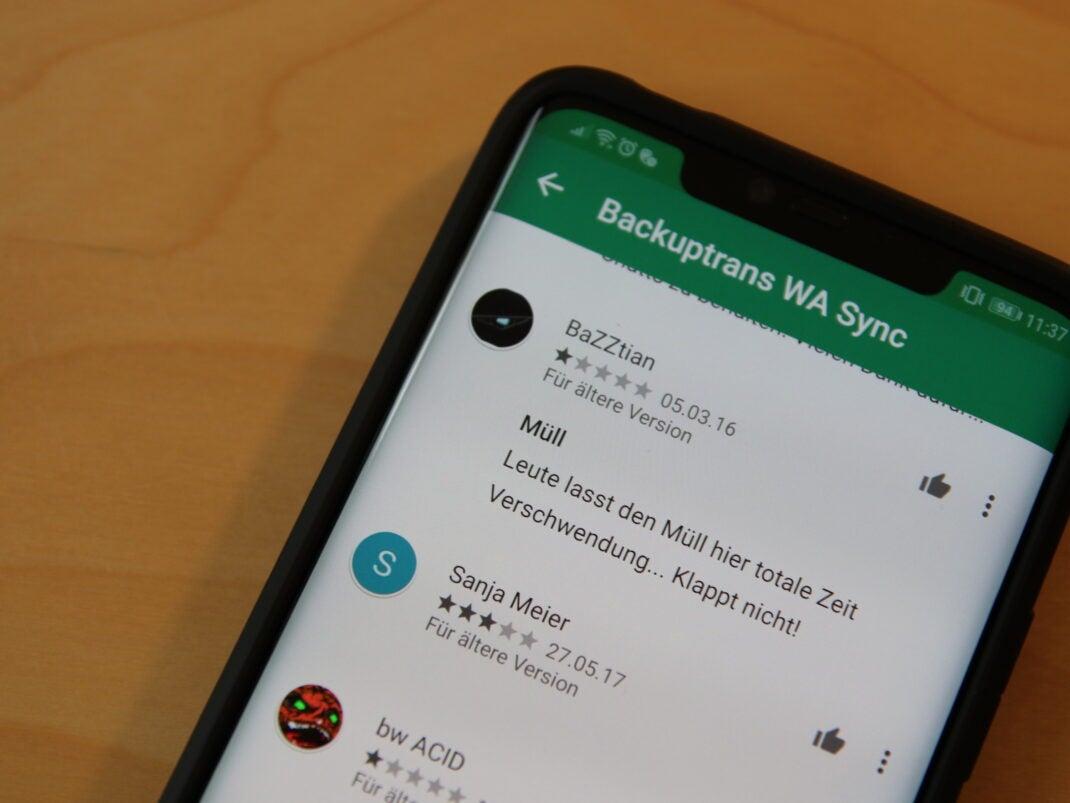 Google Play Bewertungen zu Android WhatsApp to iOS Transfer