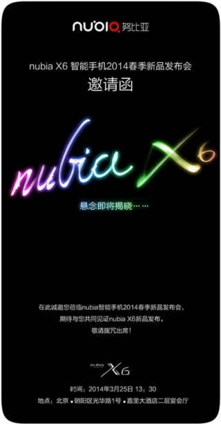 Ankündigung zur Vorstellung des Nubia X6 von ZTE