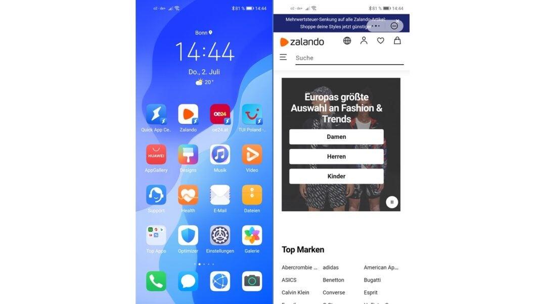 Beispiele für Quick Apps: OE24 und Zalando