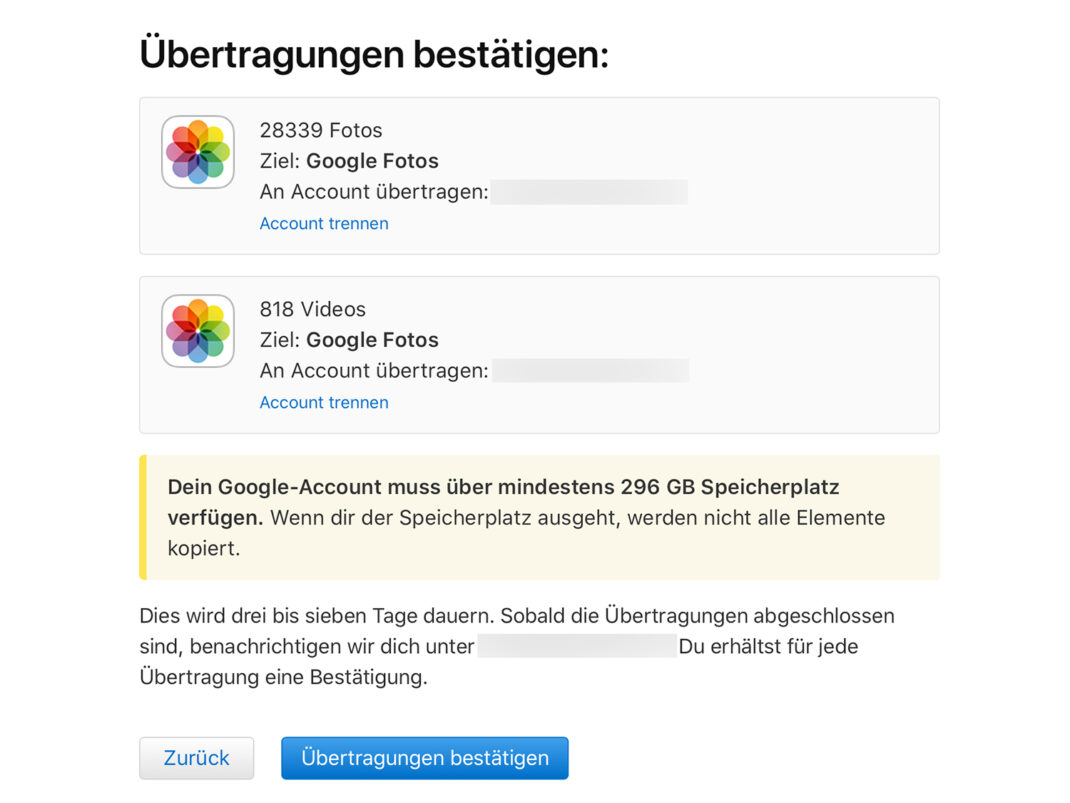 Der letzte Schritt vor dem Kopieren der Bilder von iCloud-Fotos zu Google Fotos