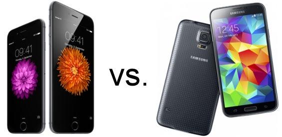 Apple iPhone 6 und iPhone 6 Plus vs. Samsung Galaxy S5