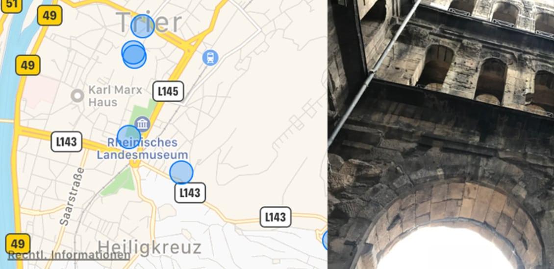 Apple, iPhone, 7, Karten, Standort, Ortung, Ortungsdienste, Trier, besuchte Orte, Screenshot, Porta Nigra