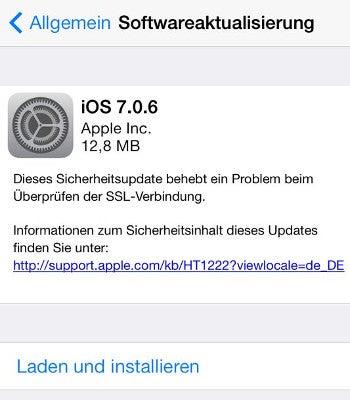 Apple iPhone und iPad Update iOS 7.0.6 Update