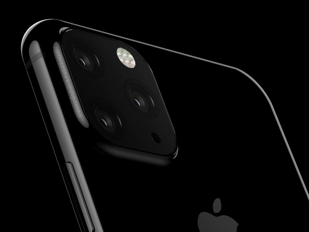 Angebliches Apple iPhone XI in Schwarz auf schwarzem Grund