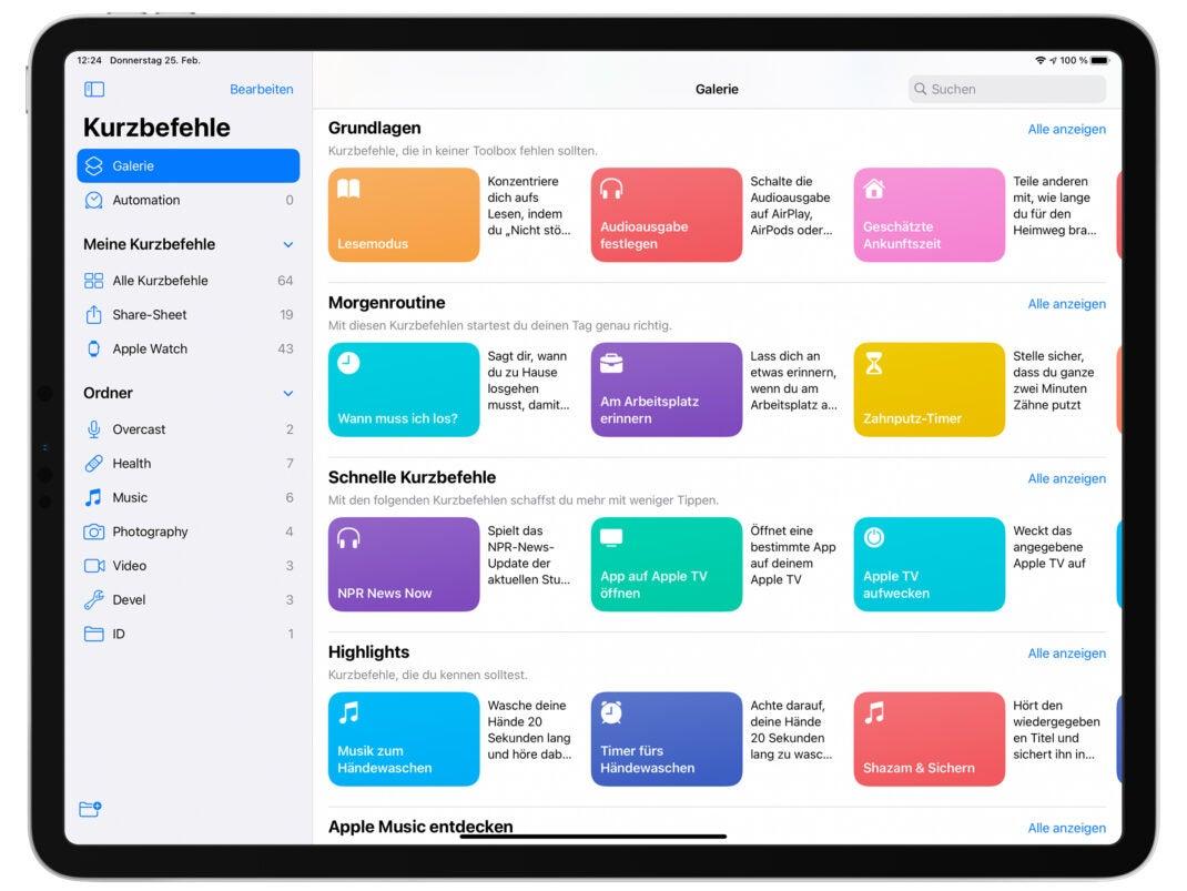 Screenshot der Kurzbefehle-Galerie auf einem iPad Pro