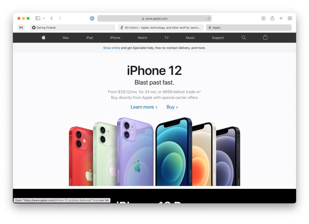 Safari in macOS Monterey Beta 3