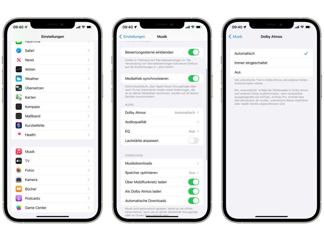 Dolby Atmos in den iOS-Einstellungen aktivieren