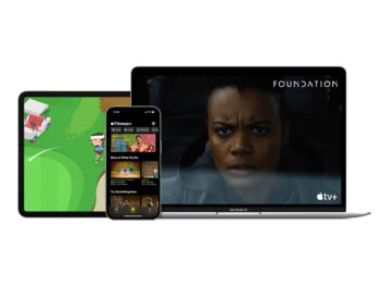 Apple One Premium und Fitness+ auf einem iPad, iPhone und MacBook