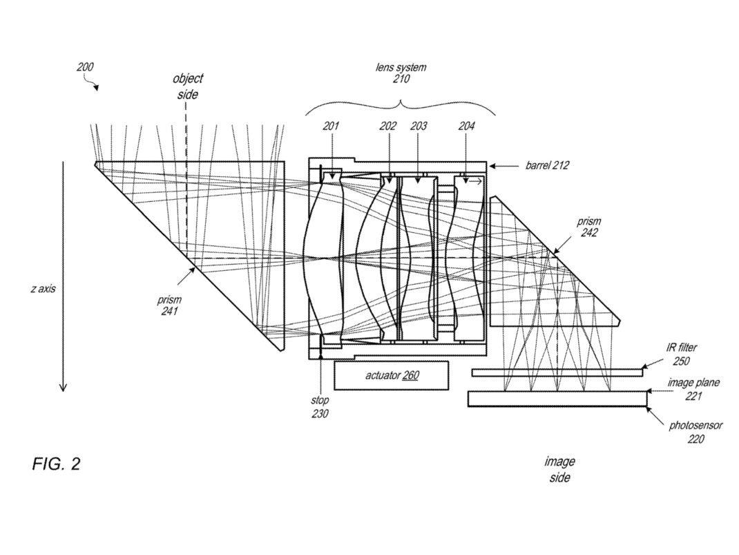 Eine technische Zeichnung von Apples Periskop-Kamera