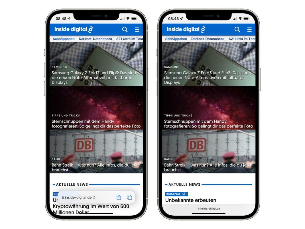 Safari-Browser in iOS 15 Beta 5