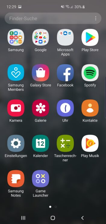 Screenshot: Drittanbieter-Apps auf dem Samsung Galaxy S10