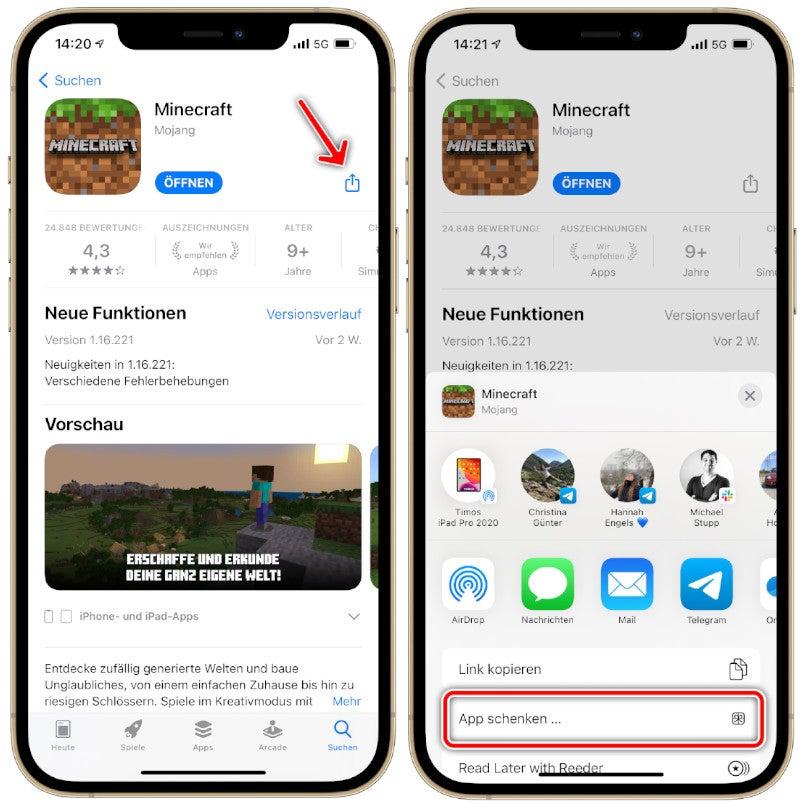 Zwei Möglichkeiten, Apps über den Apple App Store zu verschenken