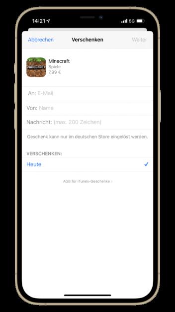 Apps verschenken unter iOS Beispiel