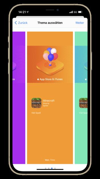 Das App-Geschenk lässt sich auch virtuell verpacken