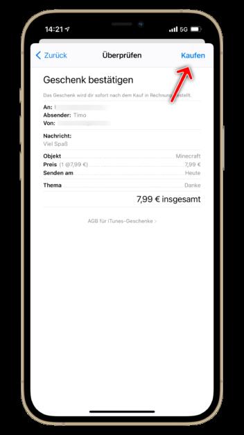 App Store Screenshot, wo man ein App-Geschenk bestätigen muss