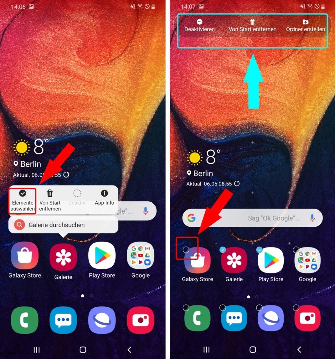 Apps auf dem Homescreen des Samsung Galaxy A50 verschieben.