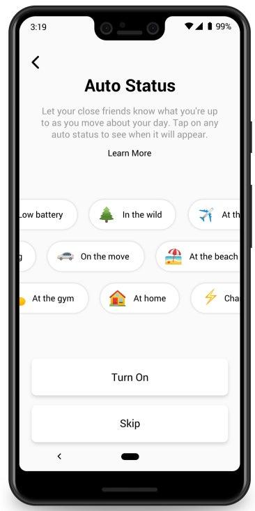 Auto-Status Auswahlbildschirm