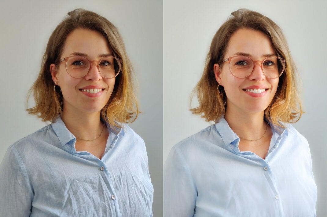 Bewerbungsfotos mit dem Handy: Vor und nach der Bildbearbeitung
