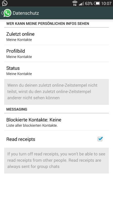 Blaue Haken bei WhatsApp abschaltbar