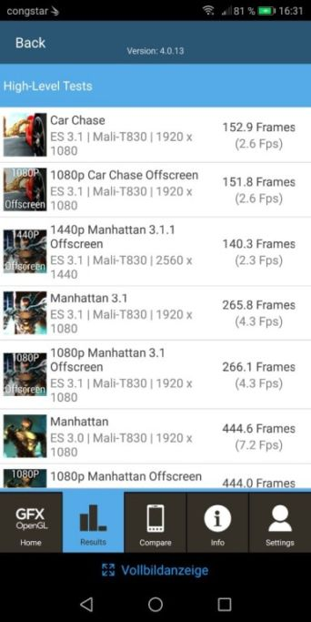 Benchmark-Tests des Honor 7X