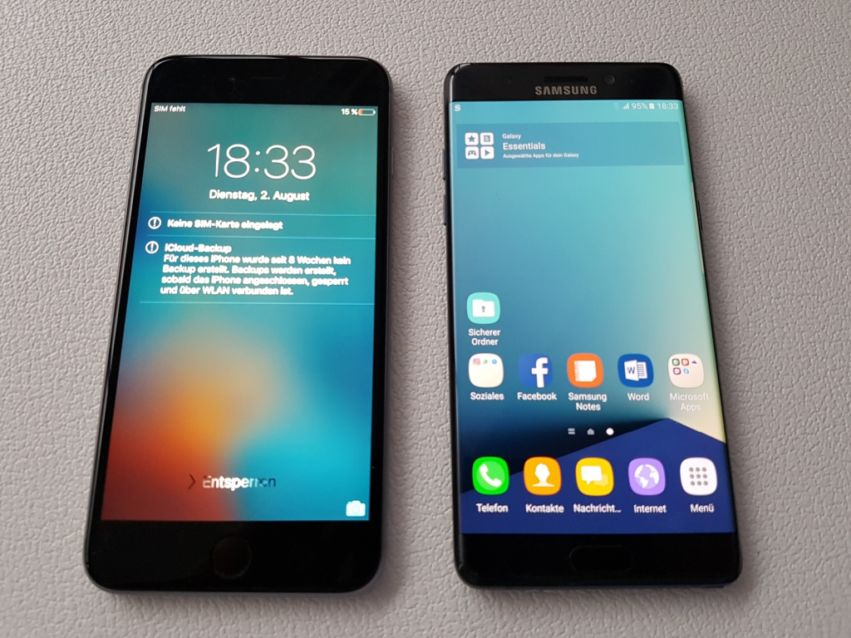 Iphone 6s Plus vs. Samsung Galaxy Note7: Hands-on Fotos
