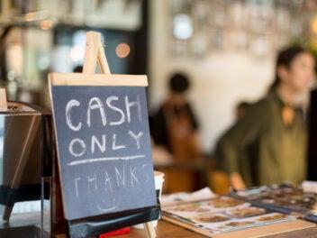 Cash Only Schild