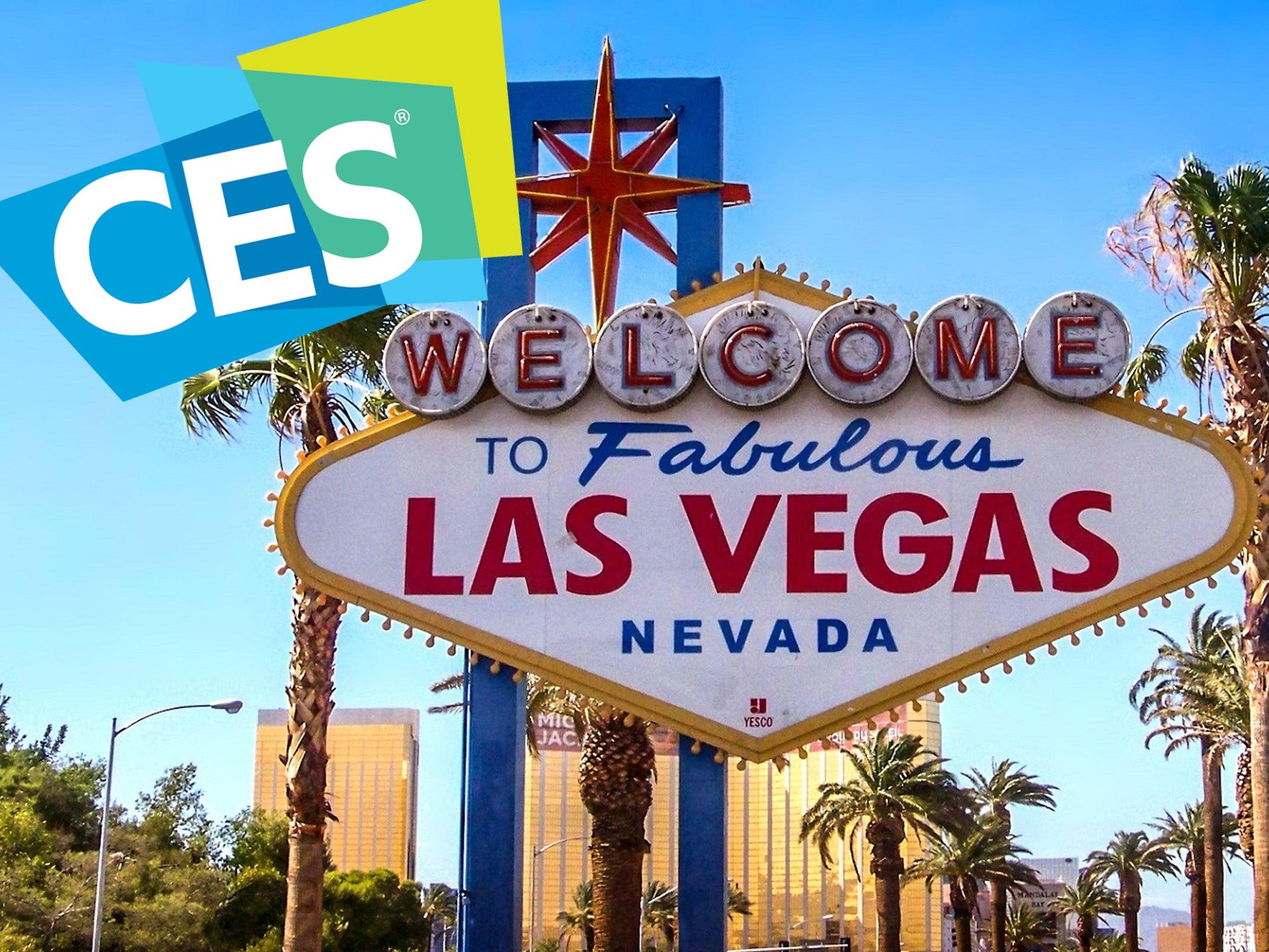 CES-Logo neben dem berühmten Las-Vegas-Willkommen-Schild