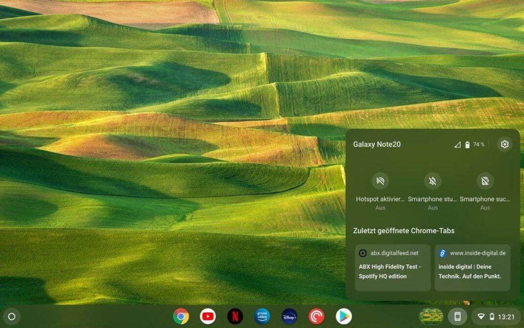 So sieht der neue Phone Hub unter Chrome OS aus