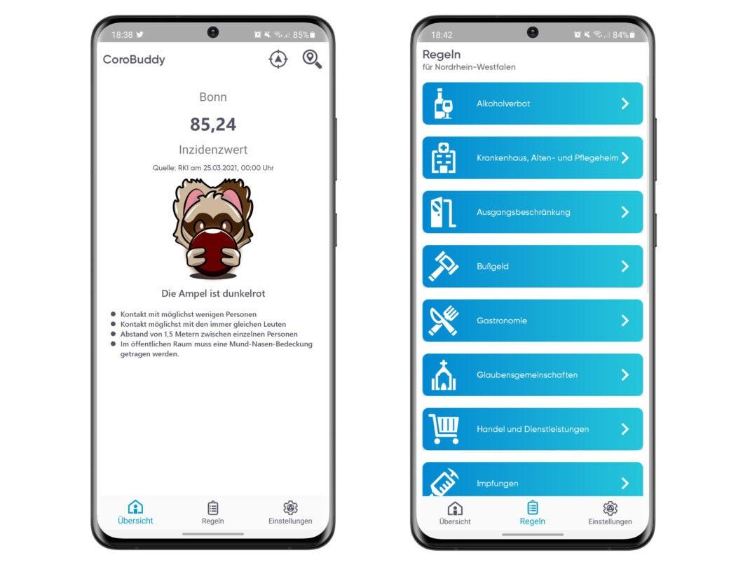 Die CoroBuddy App liefert alle Infos auf einen Blick